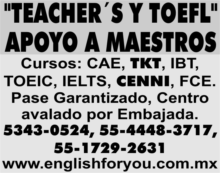 """TEACHER´S Y TOEFL""